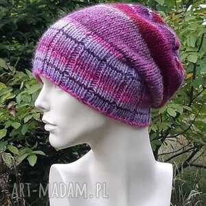 czapka melanż 53 wool krasnal, melanżowa czapka, kolorowa, dziergana