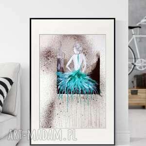 Obraz ręcznie malowany 50 x 70 cm, abstrakcja kobieta, baletnica