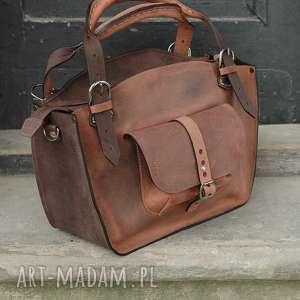 Kuferek ręcznie robiona torba torebka ladybuq z długim paskiem i kopertówką skórzana