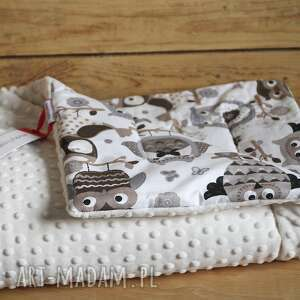 kocyk minky 75x100 - sowy - prezent, minky, kocyk dla
