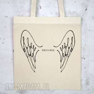 KOBIETA ANIOŁ Eko torba na zakupu bawełniana, eko, torba, płócienna, nadruk, skrzydła