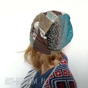 czapka patchworkowa damska kolorowa dresowa - dresowa, czapka, etno, boho, patchwork
