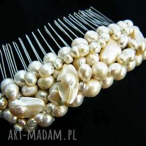 Grzebyk - ozdoba ślubna perły naturalne, grzebyk, ślub, perły,