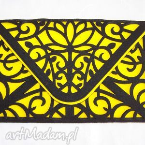 kopertówki kopertówka cut out czarno żółta, kopertówka, filc, ażurowa, tablet