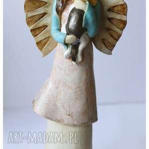 Anioł z biglem, ceramika, anioł, pies