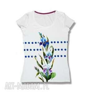 bawełniana ręcznie zdobiona bluzka w kwiaty i kropki, t shirt, bawełna