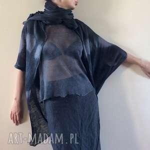 Oryginalny lniany ręcznie barwiony fraczek swetry anna damzyn