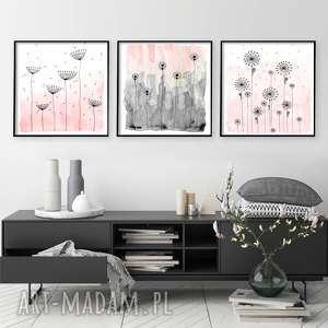 zestaw 3 prac 50x50cm, łąka, kwiaty, akwarela, obraz, sztuka