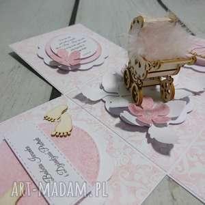 Exploding box eksplodujące pudełeczko w różu ze stopkami
