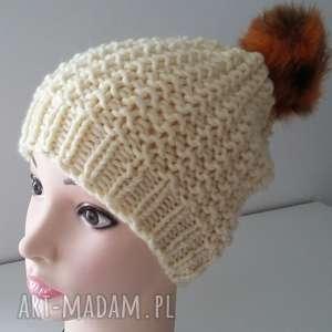 czapka zimowa z pomponem - czapka, czapa, zima, pompon, kobieta, druty