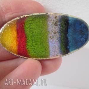 Prezent owalna energetyczna broszka, ceramiczna, zapinana, kolorowa