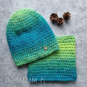 zestaw komin i czapka włóczka, czapka, komin, zestaw, kolorowy, prezent