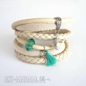 bransoletka - wanilia rzemienie, owijana, kremowa, zielona
