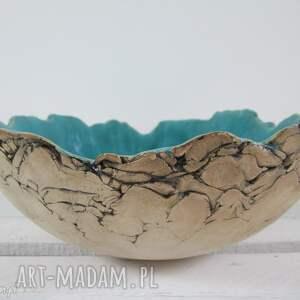 ceramika sardynia artystyczna misa na owoce, miska, turkusowa, jak skała, dekoracyjna