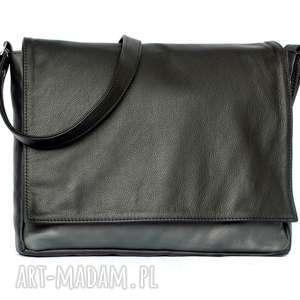 ręcznie zrobione na ramię 35-0002 czarna torebka aktówka damska do szkoły i na studia robin