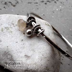 srebro,kwarc z rutylem- bransoleta z zawieszkami - złoty-rutyl, kamień-naturalny