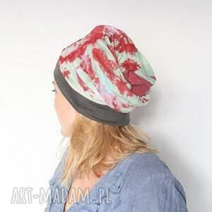 czapka handmade ręcznie farbowana rzuca na kolana B1,
