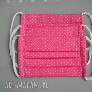 handmade maseczka bawełniana maseczka wielorazowa dla dziewczynki. Zestaw 3 szt
