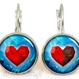 egginegg serca - małe kolczyki wiszące - niebieskie kolczyki