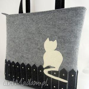 torebka z filcu - xl kotem, kot, kotek, duża, torba, a4, filcowa