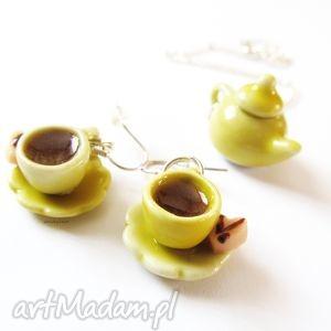 hand-made komplety żółta zastawa stołowa - komplet biżuterii