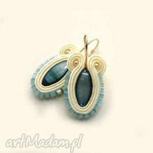 kolczyki sutasz z masą perłową, soutache, perła, eleganckie, sznurek, turkus