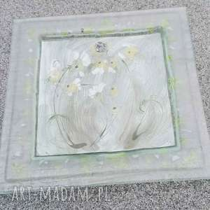 Szklana patera 28 x cm kwiatki szkło renata bulkszas fusing