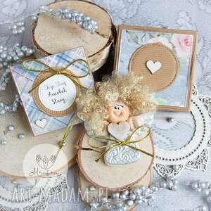 Anioł z intencją kartka oraz pudełeczko personalizowana treść
