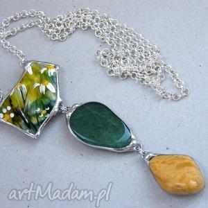 wisior z łańcuszkiem tajemniczy ogród zielony, wisior, malowany, kamienie, minerały