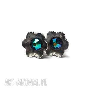 kwiatuszki /skarabeusz/ - kolczyki, srebro, swarovski, kryształki, sztyfty