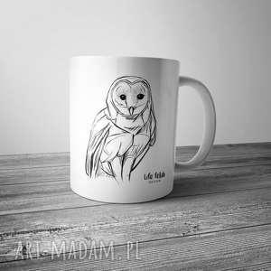 Kubek z sową rysowaną, rysunek, sowa, kubek, kawa, kuchnia