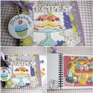 handmade scrapbooking notesy przepiśnik dla fajnej babeczki, na słodkie słodkości:)