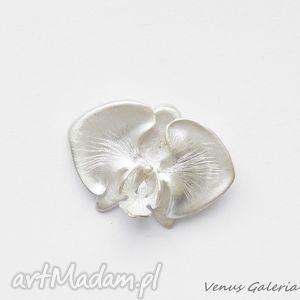 hand-made broszki broszka srebrna - biała orchidea