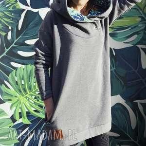 oversize bluza hoodie ogromny kaptur monstera s, dresowa, z motywem liści