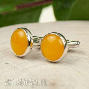 srebrne spinki do mankietów z żółtymi kamieniami a867
