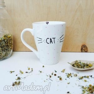 kubek miłośniczki kotów - ,cat,kubek,lady,kot,meow,wąsy,