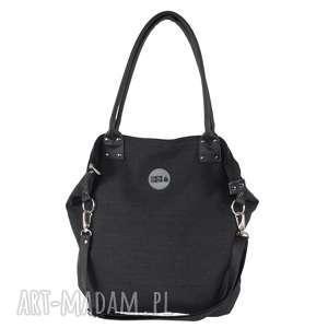 torba worek graphite canvas black - pojemna, modna, czarna, do-pracy, na-wycieczkę