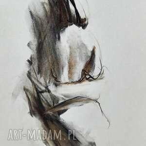 unikalny, rysunek kobieta, grafika czarno biała, kobieta węglem, obraz