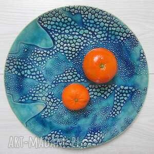 unikatowy dekoracyjny talerz, turkusowa, patera ceramiczna, ozdobny talerz