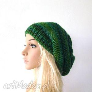 Prezent czapka w zieleniach, czapka, czapeczka, komplet, jesień, zima, prezent