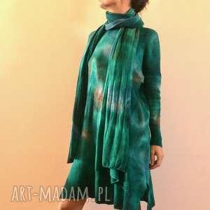 ręcznie zrobione swetry szmaragdowy wełniany sweter