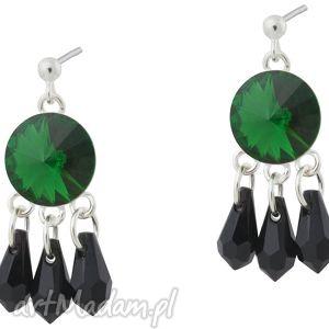 szmaragdowe zielone czarne orientalne kolczyki dark moss - kryształowe