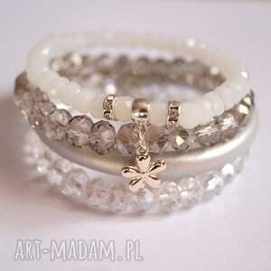 set white,grey silver elegant, swarovski, cyrkonie, kwiat, kryształki, rzemień
