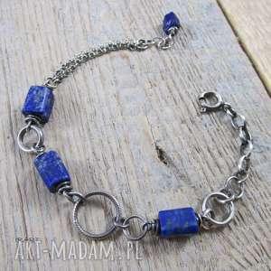 Łańcuszek z lapis lazuli II - bransoletka, srebro,