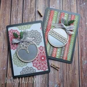 scrapbooking kartki świąteczny dwupak, święta, bombka, ostrokrzew, wstążka
