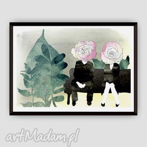 Zapoznanie... ilustracja, wydruk, miłość, zakochani, a4, akwarela