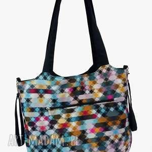 handmade torba shopper z mocowanim do wózka piksele
