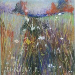 łąka-praca wykonana pastelami, pastele, łąka, rysunek