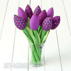 dekoracje tulipany ciemno fioletowy bawełniany bukiet, tulipany, kwiaty