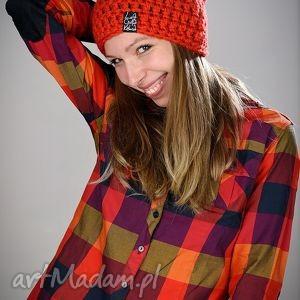 Mono 09, czapka, wełna, szydelko, włóczka, czapa, pomarańcz